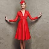 Vestido vermelho curto da Pronovias