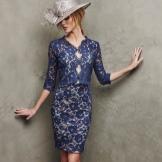 Vestido de noite azul curto por Pronovias
