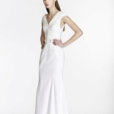 White evening dress with closed shoulders