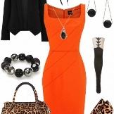 Orange na may itim at leopard print