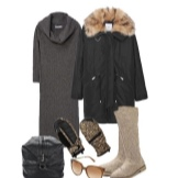 Warm knitted dress and accessories for women with figure Pear