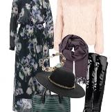 ชุดเดรสชีฟองยาวและอุปกรณ์เสริมสำหรับผู้หญิงที่มีเสารูปเรียว