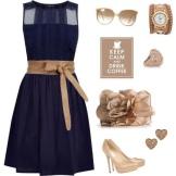 Tilbehør til marineblå kjole