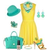 Grønt tilbehør til gul flared kjole