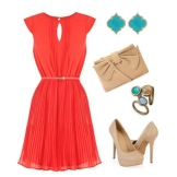 Tilbehør til rød flared kjole