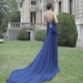 Dress with open back with a train blue