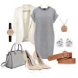 Valkoiset lisävarusteet harmaaseen mekkoihin