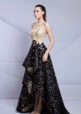 Bézs és fekete estélyi ruha