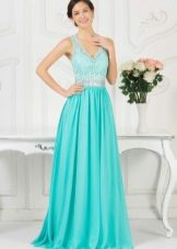 Turquoise evening dress in the Greek style