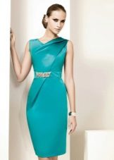 Sheath dress evening short color turquoise