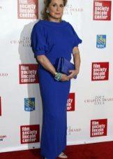Vestido de noite azul para as mulheres 50 anos