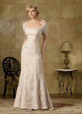 Vestido para mãe da noiva noite bege