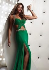 Summer evening dress with slits at the waist