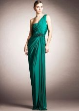 Evening dress green on one shoulder
