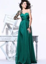 Green evening dress with lace shoulder