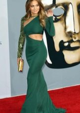 Green evening dress with cuts