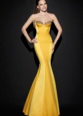 Yellow Mermaid Evening Dress by Tarik Ediz