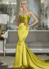 Dress evening yellow mermaid with drapery