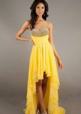 Yellow evening dress short front, long back