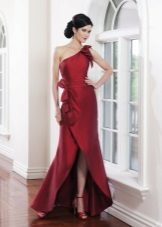 Evening burgundy dress with a slit