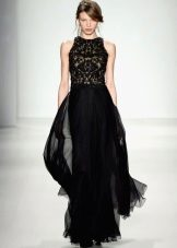 Black evening dress with a multi-layered skirt
