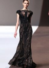 Black evening dress with lace inset