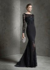 Black evening dress with lace inserts