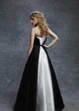 Black evening dress with white train