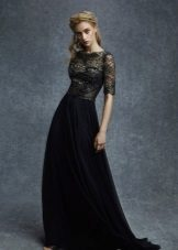 Evening dress made of silk and lace