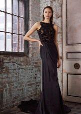 Black evening dress sa estilo ng Griyego