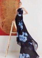 Evening dress with a train with blue flowers
