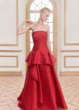 Red evening dress na may basky sa sahig
