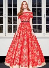 Lace aften rød kjole
