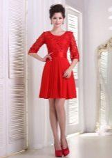 Rød aften kjole med blonder top