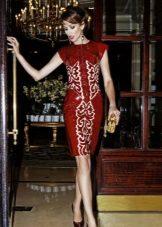 Red evening dress midi