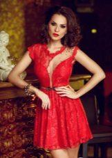Red dress mini evening