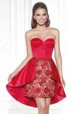 Rød kjole aften kort fra Tariq Ediz
