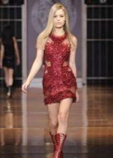 Kort rød aften kjole