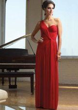 Rød aften kjole på en skulder