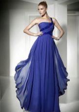 vestido de noite azul drapejado para o chão