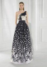vestido de noite 2016 branco e preto exuberante