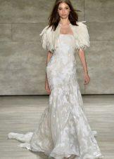 Vestido de noite branco com penas 2016