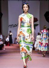 vestido de noite com estampa 2016 da Dolce & Gabbana curta