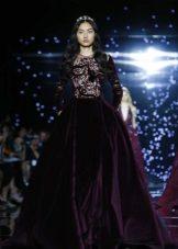 Bolyhos estélyi ruha bársony lila