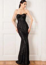 Caso de vestido de noite preto para o chão