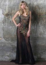 transparante openhartige jurk met decor