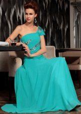 Vestido de noite longo turquesa