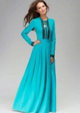Vestido turquesa com mangas compridas