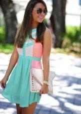 Vestido branco turquesa