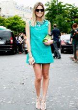 Vestido curto turquesa